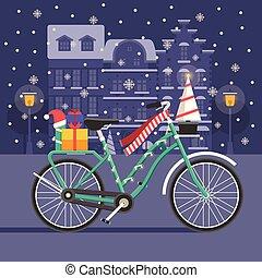 bicicletta, natale, paesaggio