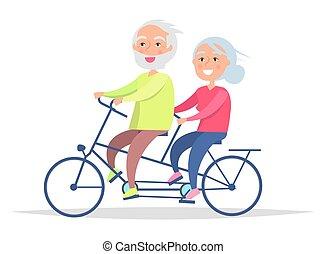 bicicletta, nonni, coppia, anziano, giorno, felice