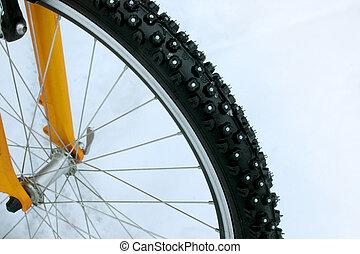 bicicletta, ornato borchie, pneumatico, neve