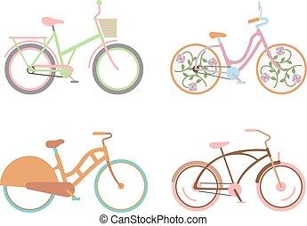bicicletta, per, ragazze, con, uno, cesto, retro, disegno, vector.