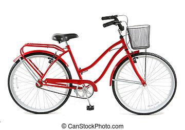 bicicletta rossa, sopra, sfondo bianco