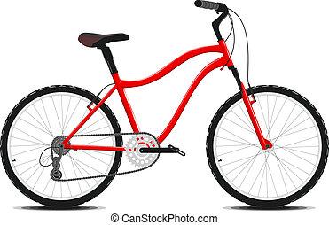 bicicletta rossa, su, uno, bianco, fondo., vector.
