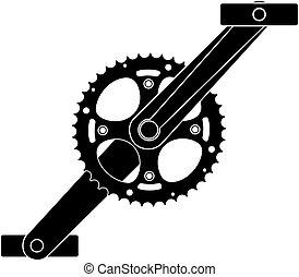 bicicletta, ruota dentata, ingranaggio, metallo