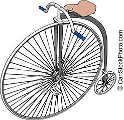 bicicletta, ruota, illustrazione, bianco, grande, vettore, fondo.