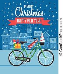 bicicletta, scheda natale, saluti