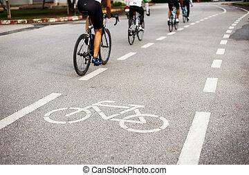 bicicletta, segno, o, icona, e, movimento, di, ciclista,...