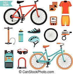 bicicletta, set, ciclismo, accessori