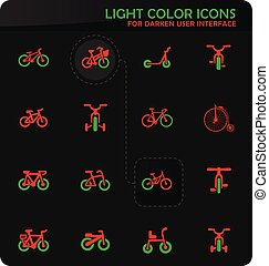 bicicletta, set, tipo, icone