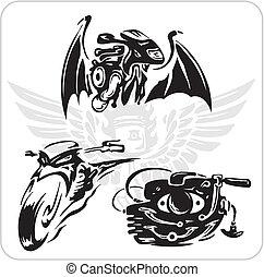 bicicletta, set, vettore, -, simbolo.