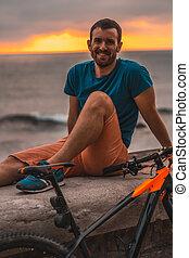 bicicletta, stile di vita, scuro-dai capelli, sea., ...