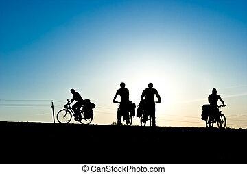 bicicletta, turisti, silhouette