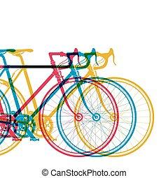 biciclette, differente, astratto, 3, illustrazione, colori, vettore, disegno, fondo, bianco, tuo