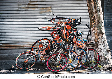 biciclette, mucchio, hangzhou, elettrico, marciapiede