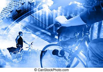 bicikli, életmód, és, adventures.duble, kitevés, sport, háttér