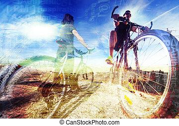 bicikli, életmód, és, adventures.sport, háttér