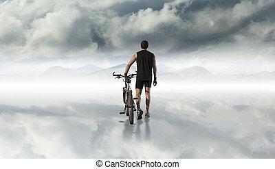 bicikli, és, sport, concept.