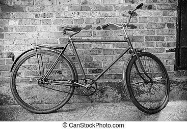bicikli, északi bálna, photol, bw, ellen, öreg, tégla, retro
