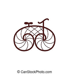 bicikli, öreg, bicycle., vektor, retro, művészet, egyenes