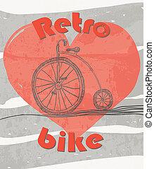 bicikli, öreg, grunge, retro, háttér