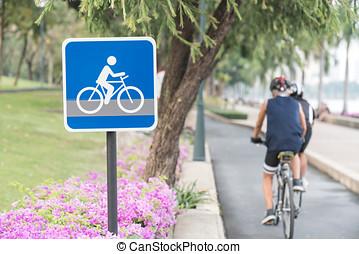 bicikli, út cégtábla, képben látható, asphalt., szabad...