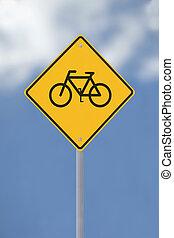 bicikli, aláír, előre