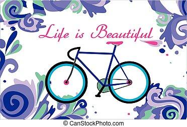 bicikli, alatt, a, szín, örvény