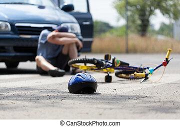 bicikli, baleset, és, egy, fiú