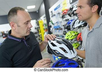 bicikli bevásárlás, helyettes, felszolgál, vásárló, to dönt, sisak