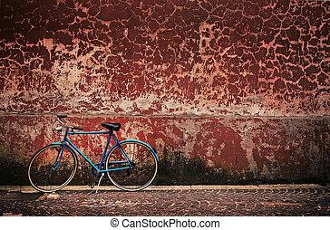 bicikli, fal, felett, retro, grungy, öreg