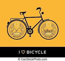 bicikli, fogalom, bicikli, megtölt rajzóra, természet, hegy