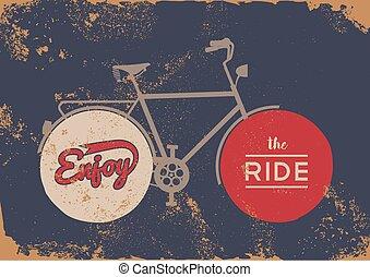 bicikli, fogalom, szüret, bicikli, fogalom, grunge, poszter