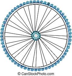 bicikli, gördít, elszigetelt, white, háttér., vektor