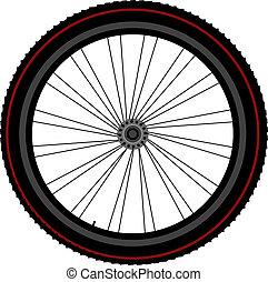 bicikli, gördít, kerék, korong, és, bekapcsol