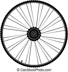 bicikli, gördít, noha, fokok, és, autógumi, elszigetelt, white, háttér