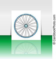 bicikli, gördít, -, vektor, ábra