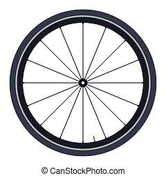 bicikli, gördít, -, vektor, ábra, white, háttér
