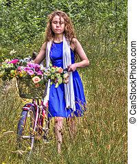 bicikli, hölgy, fiatal