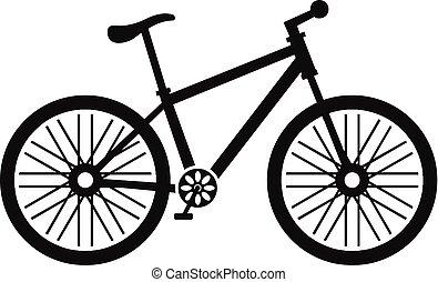 bicikli, ikon, egyszerű, mód