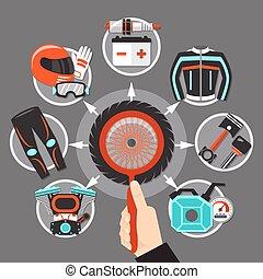 bicikli, ikonok, alatt, karika, tervezés