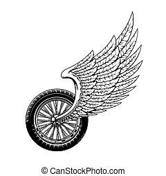 bicikli, jelkép, gördít, motorkerékpár, szárnyas, gyülekezik