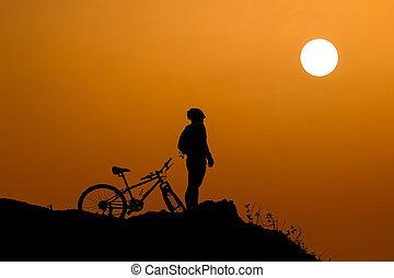 bicikli, képben látható, egy, cliff.