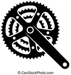 bicikli, lánckerék, cogwheel, crankset, vektor, jelkép