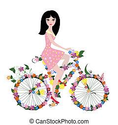 bicikli, leány, virág