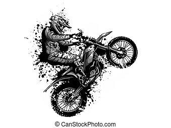 bicikli, motokrossz, lovagol, ábra, vektor, lovas