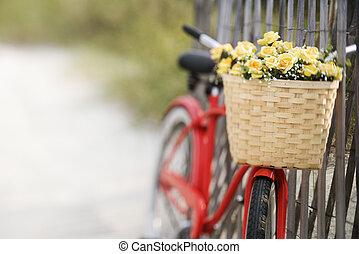 bicikli, noha, flowers.