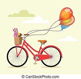 bicikli, noha, menstruáció, és, léggömb