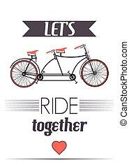 bicikli, retro, poszter, vektor