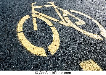 bicikli sáv, aláír, képben látható, út
