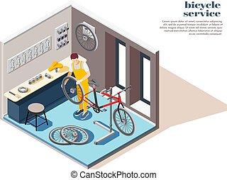 bicikli, szolgáltatás, isometric, zenemű
