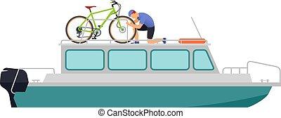 bicikli, travel., csónakázik